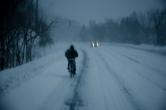 niseko biking on route five in winter