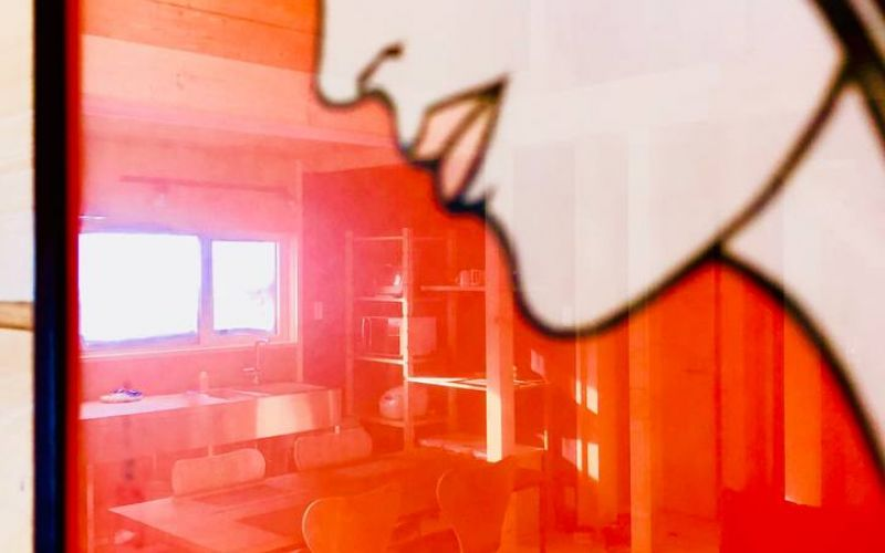reflection of living room in Japanese art work on wall