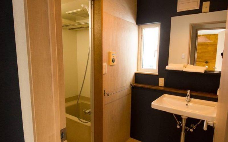 unit bathroom and wall vanity in ski chalet in niseko japan