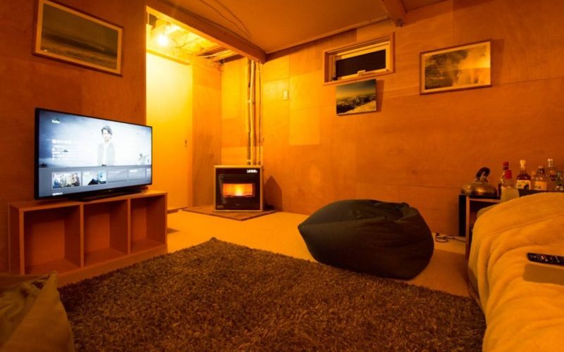 "warm downstair TV room and den, ""Tanuki's den"""