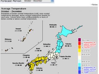 temperature 3 month forecast map Octber 2014 (JMA)