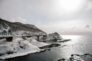 shakotan peninsula kamoenai brigdes on the sea of japan